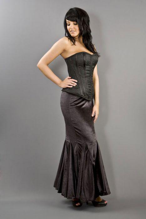 8703074c17 Panel long mermaid cut skirt in black velvet PNLSKVELBLK by Burleska color  Black