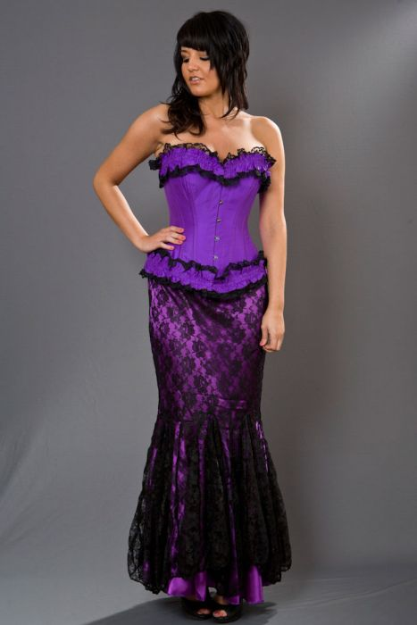b0ab7fd538 Panel long mermaid skirt in purple satin and lace overlay PNLSKLACPUR by Burleska  color Purple