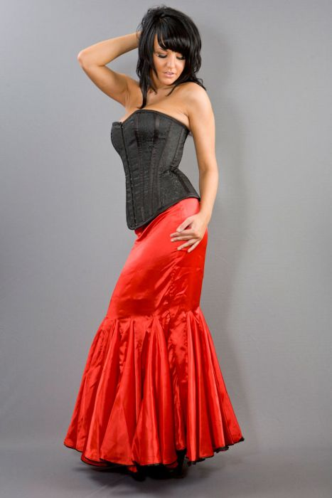 6d2a2cecdc Panel long mermaid skirt in red satin PNLSKSATRED by Burleska color Red