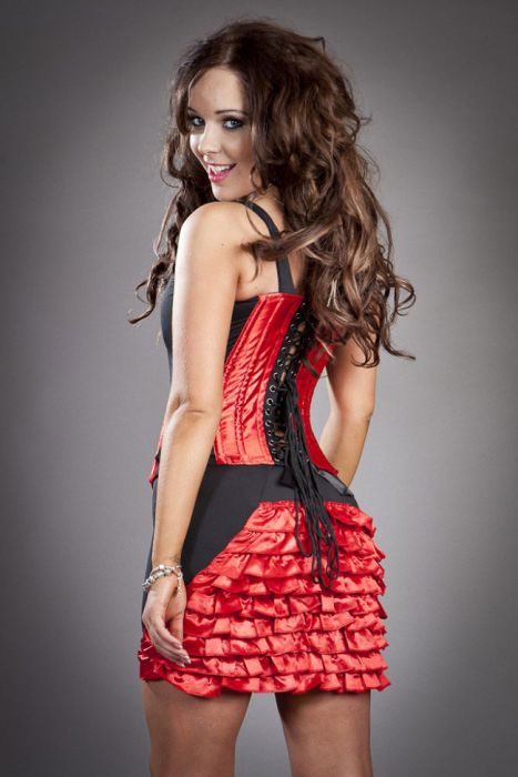 448ac642cc Panty clubwear mini skirt in red satin PANSKSATRED by Burleska color Red