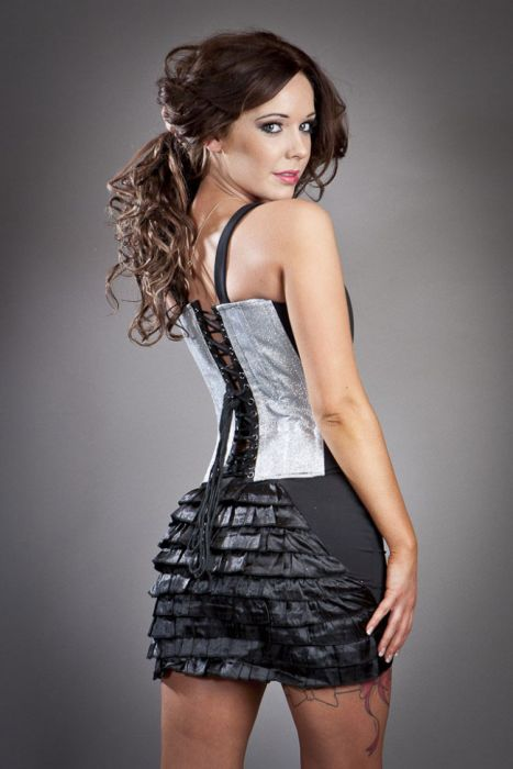 f360d05541 Panty clubwear mini skirt in silver glitter PANSKGLISIL by Burleska color  Silver