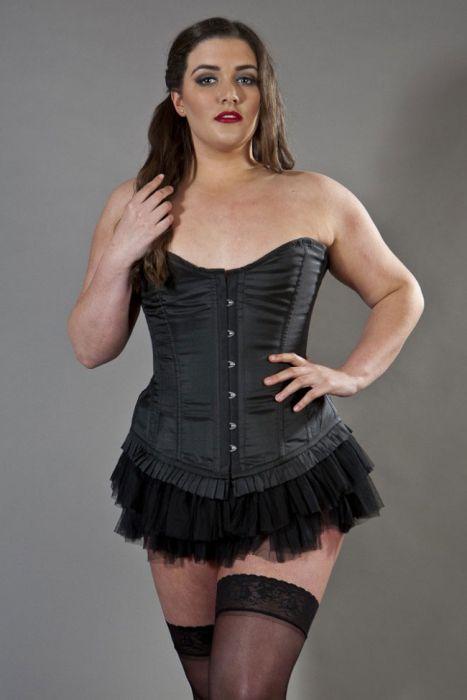 a18cae7cd4 Petra overbust longline plus size corset in black taffeta PETOBTAFBLKP by  Burleska color Black