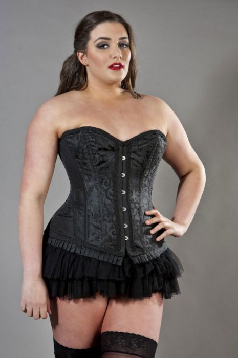 7efcd9fd7 Petra overbust plus size steel boned corset in black scroll brocade  PETOBSCRBLKP by Burleska color Black