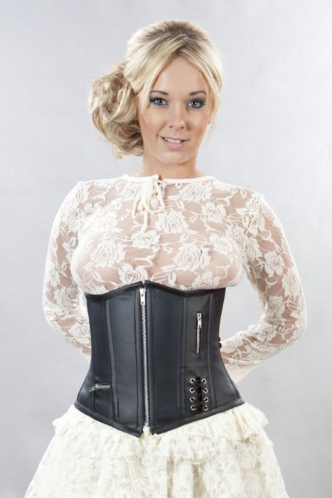 c306ce082fd488 Punk underbust corset with zip in black matte vinyl PUNUBMATBLK by Burleska  color Black