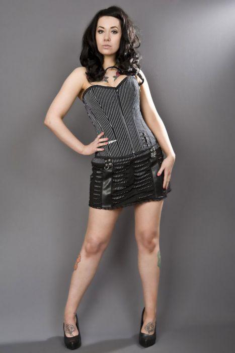 b6fc645cb219 Razor black white striped mini skirt RAZSKSTRWHI by Burleska color White