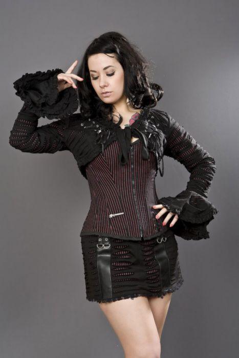 00f0129f8579 Razor gothic bolero jacket in black and red stripes RAZBOSTRED by Burleska  color Red