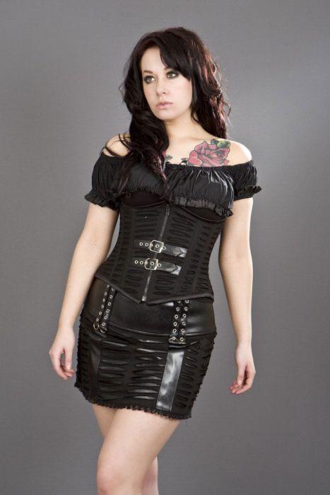 7af5c148289 Razor underbust corset with zip and buckles in black twill RAZUBTWIBLK by  Burleska color Black