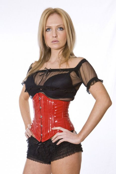 7623c2ed0f Sexy waspie waist cincher in red PVC SEXUBPVCRED by Burleska color Red