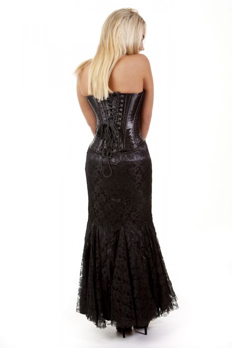 e49463db03 Panel long mermaid style skirt in black satin and black lace overlay  PNLSKLACBLK by Burleska color