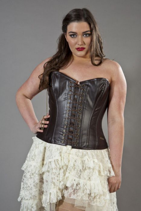 Steampunk overbust plus size corset in brown matte vinyl