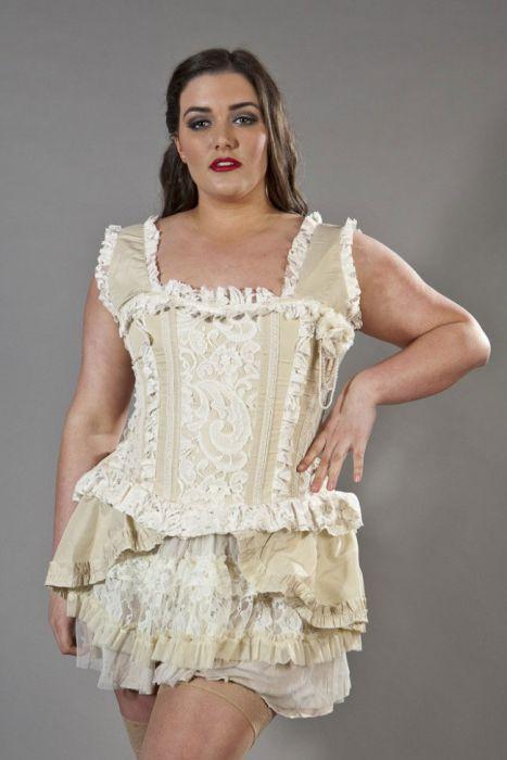 Venice overbust plus size corset with straps in cream taffeta