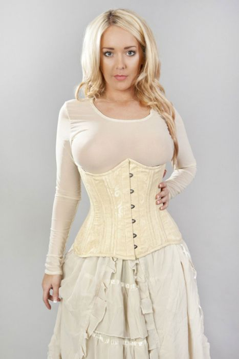3dd24eca9a Victorian double steel boned underbust corset in cream scroll brocade  VICUBSCRCRE by Burleska color Cream
