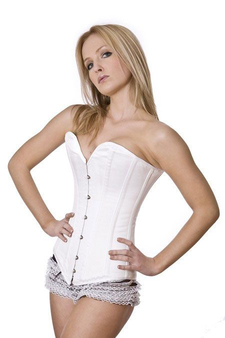 b7cf3e7635 Victorian overbust long line corset in white satin VICOBSATWHI by Burleska  color White