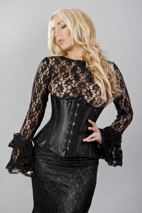 a9d475a5241 Victorian spiral double steel boned underbust corset in black satin  VICUBSATBLK by Burleska color Black