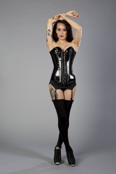 9663f03849 Victorian overbust long line corset in black PVC VICOBPVCBLK by Burleska  color Black