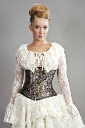 corset  steampunk corset  gold corset  clock  burleska