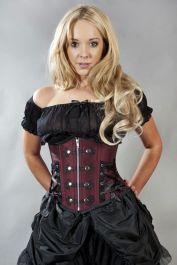 waist cincher corset  burgundy corset  rock  burleska