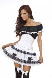 white waist cincher  waspie corset  sexy  burleska